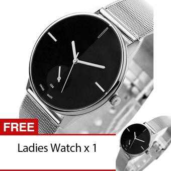 Harga Terbaru Bluelans perempuan haid pasangan kekasih kuarsa jam tangan Stainless Steel Hitam [membeli 1