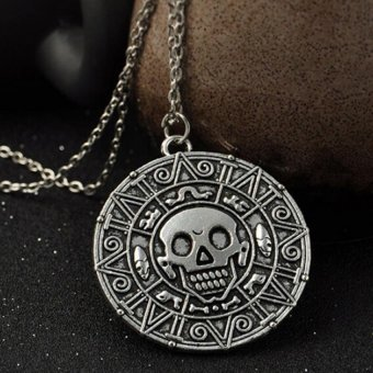 Harga Retro Vintage Pirates of the Caribbean Aztec Coin Skull Pendant Necklace - intl