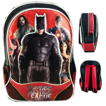 Harga BGC Tas Ransel Sekolah Anak SD Justice League Batman The Flash Wonder Women Cyborg 3D  Timbul - Black Red