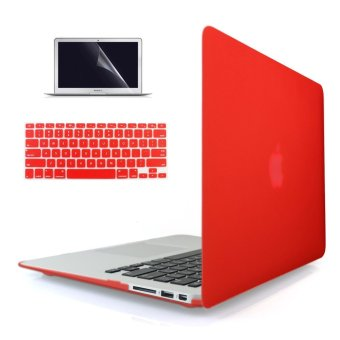 "Harga Welink 3 in 1 Apple MacBook Air 11"" Case / Soft-Touch Plastic Hard Case Cover + Keyboard Cover + Screen Protector for Macbook Air 11"" (Red)"