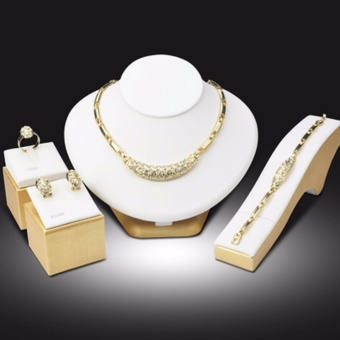 Hequ Popular fashion boutique wedding jewelry set plated 18K gold necklace earrings bracelet crystal apparel accessories
