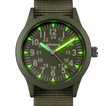 Harga INFANTRY Mens Analog Wrist Watch 24hrs Night Vision Pilot Tactical Green Nylon