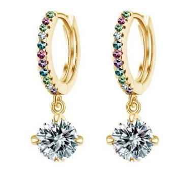 Harga Okdeals Women 18K Plated Rhinestone Hoop Earrings Gold &Multicolor