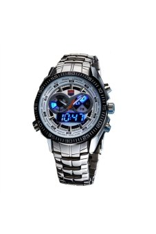 Harga TVG KM-468 100M Waterproof Men's Dual Time Display Sports Digital Quartz Watch with Date /Alarm /LED Light White