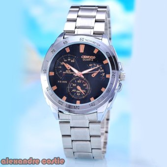 Harga Cenozo - Jam Tangan Pria - Body Silver - Black Rose Dial - Silver Stainless Steel Band - CNZ-RT-8146C-G-SBR - Stainless Steel Band