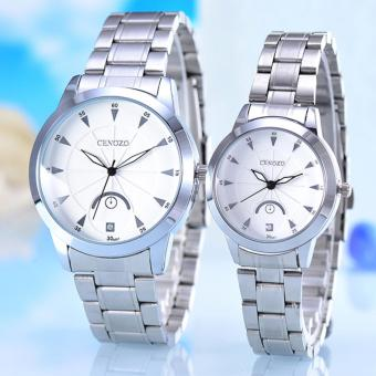 Harga Cenozo - Jam Tangan Pria & Wanita - Body Silver - White Dial - Silver Stainless Steel Band - CNZ-RT-8207GL-SW -Couple - Stainless Steel Band