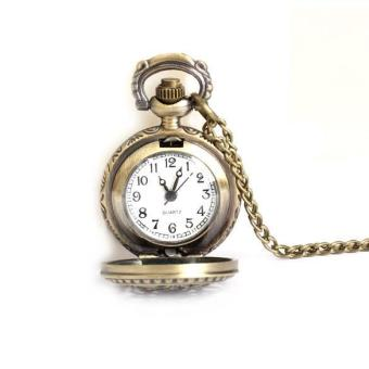 Harga YBC Vintage Small Size Lotus Hollow Quartz Pocket Watch - intl