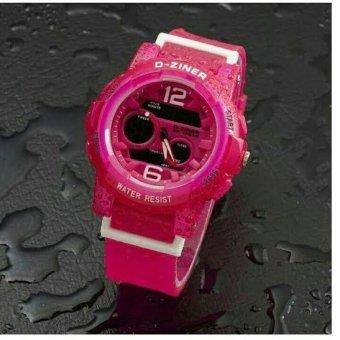 D-ziner DZ4104 Dual Time Jam Tangan Wanita Rubber Strap (Pink)