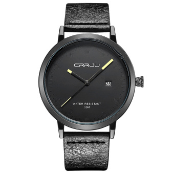 Harga CatWalk Men Stainless Steel Quartz Sport Leather Band Dial Wrist Watch (Black) - intl
