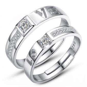 Couple Rings Jewellry 925 Silver Adjustable Lovers Ring Jewelry E027 - intl