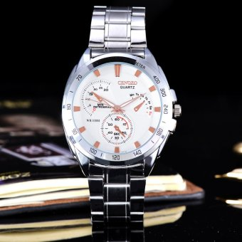 Harga Cenozo - Jam Tangan Pria - Body Silver - White Rose Dial - Silver Stainless Steel Band - CNZ-RT-8146D-G-SWR - Stainless Steel Band