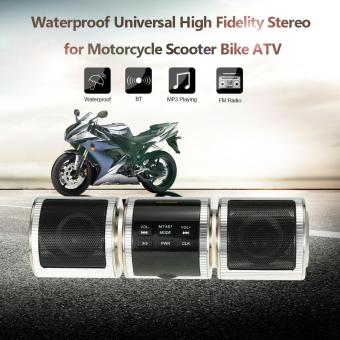 Harga Universal Motorcycle High Fidelity Stereo Waterproof MP3 Player Speaker FM Radio Audio System for Scooter Bike ATV - intl