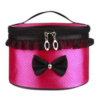 Harga Women Cosmetic Bag Travel Makeup Make up Storage Organizer Box Beauty Case-Rose red + dots