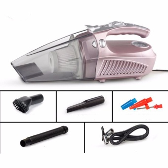 Harga Car Vacuum Cleaner 4 in 1 Portable 12V 100W Handheld Auto Vacuum Cleaner Wet and Dry Dual-use With LED Measuring Tire Pressure (Pink) - intl