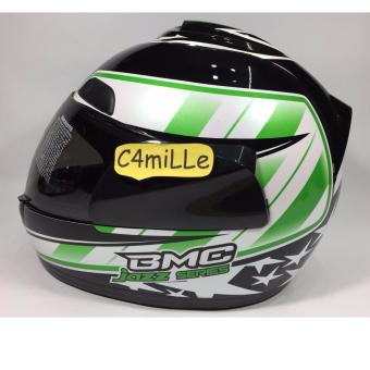 Harga HELM BMC JAZZ #14 BLACK WHITE GREEN FULL FACE