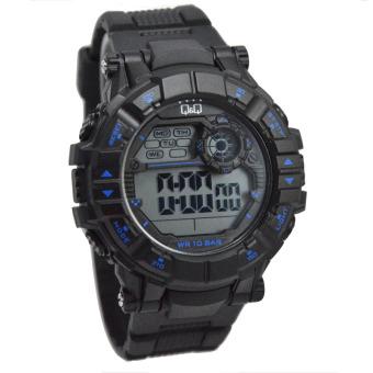 Q&Q Sport Jam tangan Pria Rubber Strap Q&Q M152 Black .