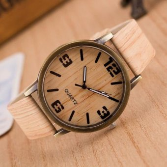 Harga Okdeals Wooden Quartz Men Watches Casual Wooden Leather Strap Watch Wood Wristwatch #4