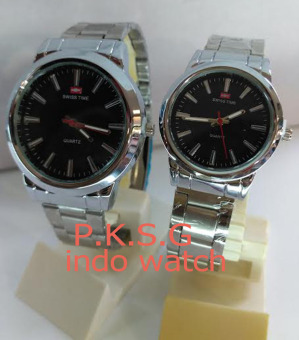 Swiss Time/Army - ST 0575 Jam Tangan Couple Stainless Steel Silver Black
