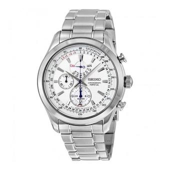 Harga Seiko Watch Chronograph Perpetual Silver Stainless-Steel Case Stainless-Steel Bracelet Mens Japan NWT + Warranty SPC123P1