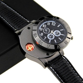 Harga Universal Creative Watches USB Powered with Lighter / Jam Tangan Mancis - Hitam