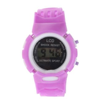 Harga Boys Girls Student Time Sport Electronic Digital LCD Wrist Watch Purple - intl