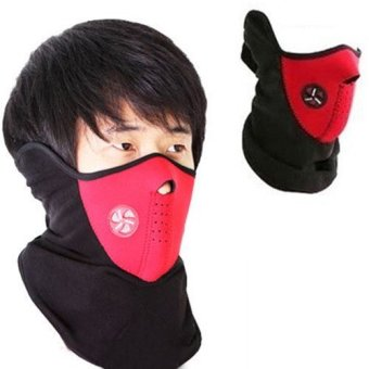Harga Lbag Motorcycle Polar buff Ski Half Face Mask Masker Motor Air Thermal Supermask Filter Udara Sky 3M - Merah