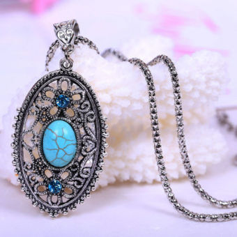 Harga Hollow Tibet Turquoise Jewelry Gift Pendant Necklace - intl