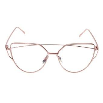 Fashion Hot Big Frame Anti Blue-ray Metal Optical Glasses (Pink Frame) -