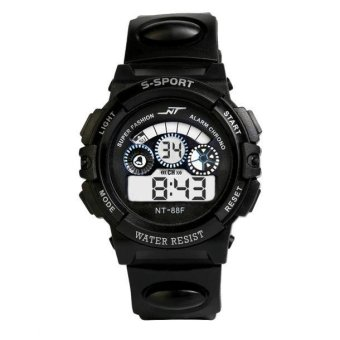 Harga Waterproof Mens Boy's Digital LED Quartz Alarm Date Sports Wrist Watch BK - intl