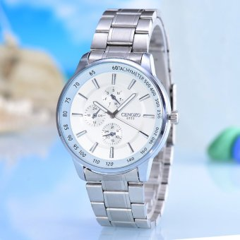 Harga Cenozo - Jam Tangan Pria - Body Silver - White Dial - Silver Stainless Steel Band - CNZ-RT-8103E-L-SW - Stainless Steel Band