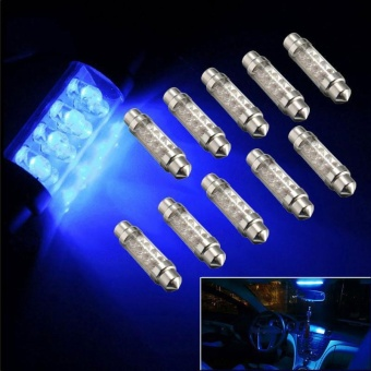 42mm 8 LED Blue Auto Car Vehicle Interior Dome Festoon Reading Lamp Bulb - intl