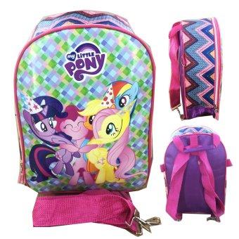 BGC My Little Pony Purple Sakura Timbul Tas Ransel + Selempang Sekolah Anak TK