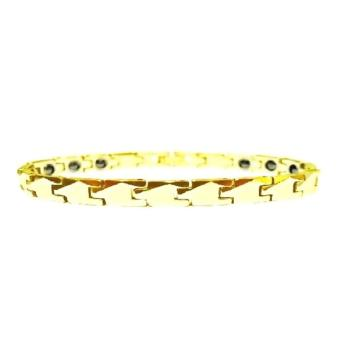 Arc Jewelry Arrow Faceted Gold Tungsten Magnetic Bracelet - Gelang Pria Wanita - Gelang Kesehatan - 17cm - S