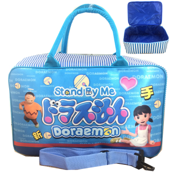 Harga BGC Travel Bag Full Sateen Doraemon Stand By Me + Tali Selempang - Blue White
