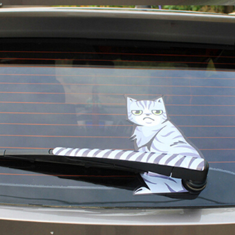 Harga HengSong Moving Tail Cat Car Decal Rear Window Wiper Decal Frowning Cat Car Stickers - intl