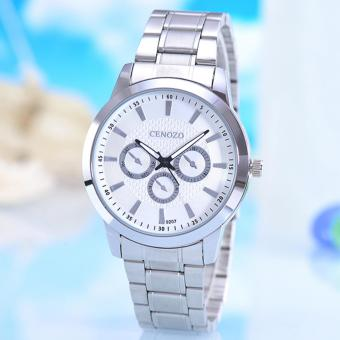 Harga Cenozo - Jam Tangan Pria - Body Silver - White Dial - Silver Stainless Steel Band - CNZ-RT-9207B-G-SW - Stainless Steel Band