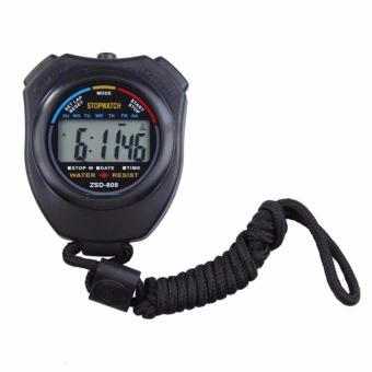 Harga Professional Stopwatch Handheld LCD Chronograph Timer with Strap / Stopwatch Profesional - Hitam