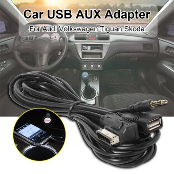Harga Car AMI 3.5mm Audio AUX USB Charge Adapter Cable Fit Audi A3 A4 A5 A6 AC372