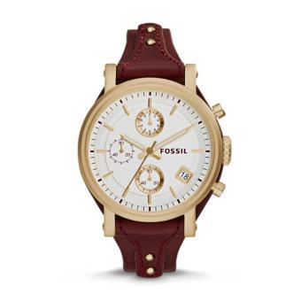 Fossil Original Boyfriend ES3841 Jam Tangan Wanita Chronograph Leather Maroon Red