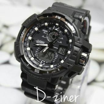 ... Hitam Source · 54dr36 Cek Harga Source Harga D ziner Jam Tangan Pria Sport Dual Time Rubber Strap