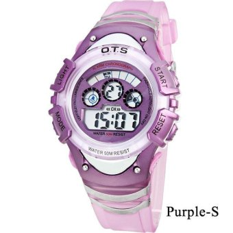 Harga Genuine O.T.S Children Student Waterproof Watches Sports Night Light Digital Watch - Purple S - intl