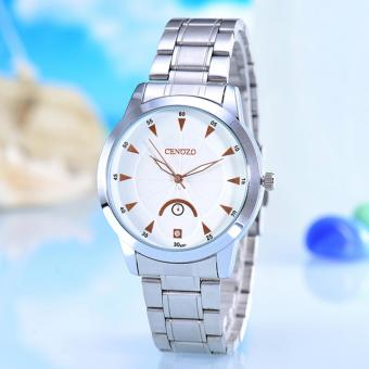 Harga Cenozo - Jam Tangan Pria- Body Silver - White/Rose Dial - Silver Stainless Steel Band - CNZ-RT-8207B-G-SW/Rose - Stainless Steel Band