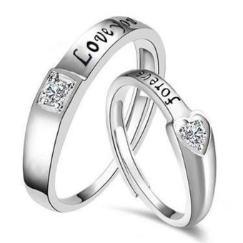 Couple Rings Jewellry 925 Silver Adjustable Lovers Ring Jewelry E025 - intl