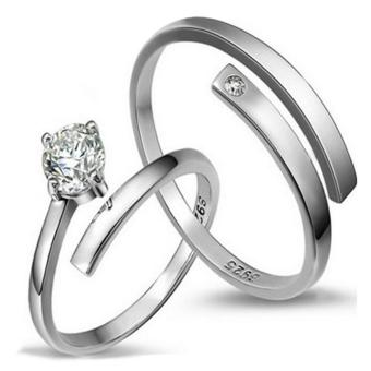 Couple Rings Jewellry 925 Silver Adjustable Lovers Ring Jewelry E012 - intl