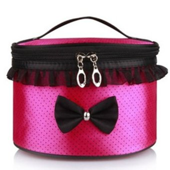 Harga Lace Makeup Bag Cosmetic Bag Travel Wash Portable Round Bag for Women rose dots - intl