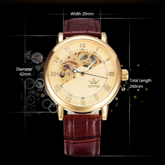 Harga Sewor Automatic Men Brand Luxury Design Business Leather Mechanical Skeleton Wristwatch SWQ08 - intl