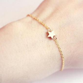 Harga High Quality Store New Women Girl Fashion Jewelry Gift Gold Silver Plated Charm Chain Star Bracelet