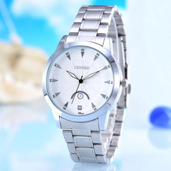 Harga Cenozo - Jam Tangan Pria- Body Silver - White Dial - Silver Stainless Steel Band - CNZ-RT-8207-G-SW - Stainless Steel Band