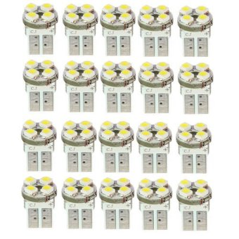 Harga Okdeals 20 x T10 194 W5W 4 LED Pure White Car Wedge SMD SMT Bulb Light