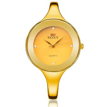 Harga CatWalk Women Quartz Stainless Steel Bangle Bracelet Wrist Watch (Gold) - intl